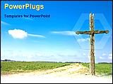 PowerPoint Template - a old cross in a country side