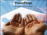 PowerPoint Template - praying hand raised in supplication to god