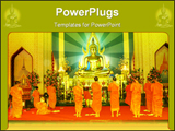 PowerPoint Template - Monks at Prayer in a Temple facing a Buddha