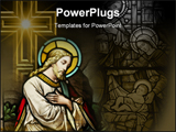 PowerPoint Template - iew of the stained glass window depicting christ, stained glass window in 19th century (st. mary\