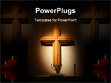 PowerPoint Template - The cross is lit by a spot and the altar there is some candle lights