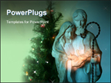PowerPoint Template - Joseph mary and jesus with lighted pine (blurred) in the background. dramatic lighting