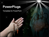 PowerPoint Template - Praying with a rosary background in deep black
