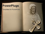 PowerPoint Template - Open book with Jesus Christ and cross
