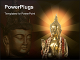 PowerPoint Template - Detail of a golden Buddha statue with necklace. Headshot with hands.