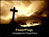 PowerPoint Template - christian cross silhouette and the clouds in sepia tone