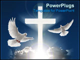 PowerPoint Template - 3d bright white cross beaming in cloudy skyscape