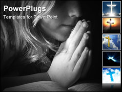 PowerPoint Template - Black and white image of a child praying.