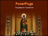 PowerPoint Template - antique Statue of Mother Mary and Jesus Christ