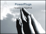 PowerPoint Template - Hands folded in prayer and raised towards sky.