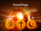 PowerPoint Template - Illustration of three rounds with religious symbols