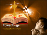 PowerPoint Template - Illustration of a divine lamp and religious book