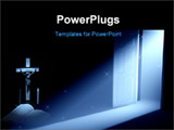 PowerPoint Template - door with a mysterious glowing light rays.