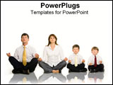 PowerPoint Template - A religious family sits in meditation.