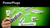 PowerPoint Template - Renewable themed newspaper headlines on green background