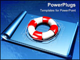 PowerPoint Template - d illustration of a large red and white lifesaver sitting on top of a set of unrolled blueprints on