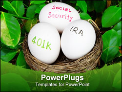 PowerPoint Template - retirement nest eggs make up isolated on black