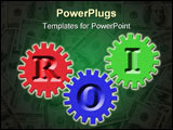 PowerPoint Template - Three different colored gears showing ROI, return on investment.