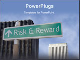 PowerPoint Template - Street sign  risk & reward located in a business district.