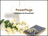 PowerPoint Template - bible and flower in front of cross