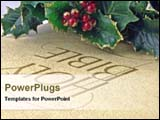 PowerPoint Template - Christmas leaves and holy bible