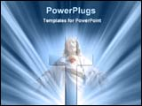 PowerPoint Template - glowing cross and Jesus