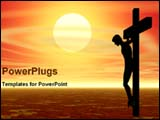 PowerPoint Template - image of crucifixion and sunset