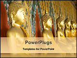 PowerPoint Template - golden statues of lord buddha