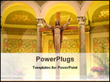 PowerPoint Template - a statue of jesus inside a cathedral