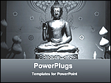 PowerPoint Template - a metallic statue of Buddha