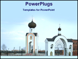 PowerPoint Template - view of a Christian church complex