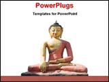 PowerPoint Template - a statue of a dhynai Buddha