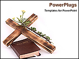 PowerPoint Template - a cross and a bible on a desk