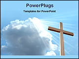 PowerPoint Template - light falls from sky on a wooden cross
