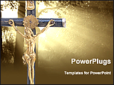 PowerPoint Template - a statue of jesus with heavenly light background