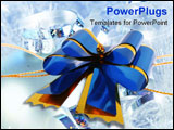 PowerPoint Template - Dark blue celebratory bow for registration of a gift and a congratulation on a white background