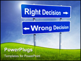 PowerPoint Template - Right and Wrong decision in green grass with blue sky