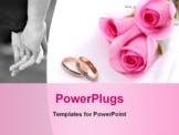 PowerPoint Template - wedding rings and pink roses