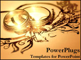 PowerPoint Template - Two golden wedding rings.