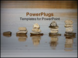 PowerPoint Template - stacks of rocks increasing in size on a wet beach.