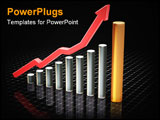 PowerPoint Template - 3d render of a chart showing rising profits