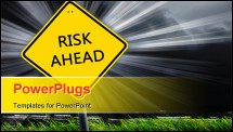PowerPoint Template - Yellow road sign as a warning of risk ahead