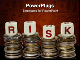PowerPoint Template - Stacks of coins with the word RISK isolated on white background