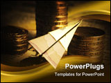 PowerPoint Template - Financial concept with paper plane and coins.