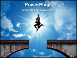PowerPoint Template - Portrait of a businessman jumping over a gap between two parts of a bridge