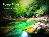 PowerPoint Template - River deep in mountain forest. Nature composition.