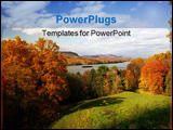 PowerPoint Template - freighter on the hudson river upstate ny in the fall