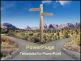 PowerPoint Template - rural road that forks to left and right with blank signpost in the center