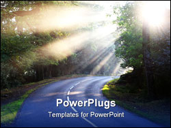 PowerPoint Template - forest road with shafts of sunlight through early morning mist