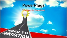 PowerPoint Template - The words Road to Innovation on a pavement road leading upward to a light bulb representing imagination, creativity and idea generation in problem solving and success in reaching a goal